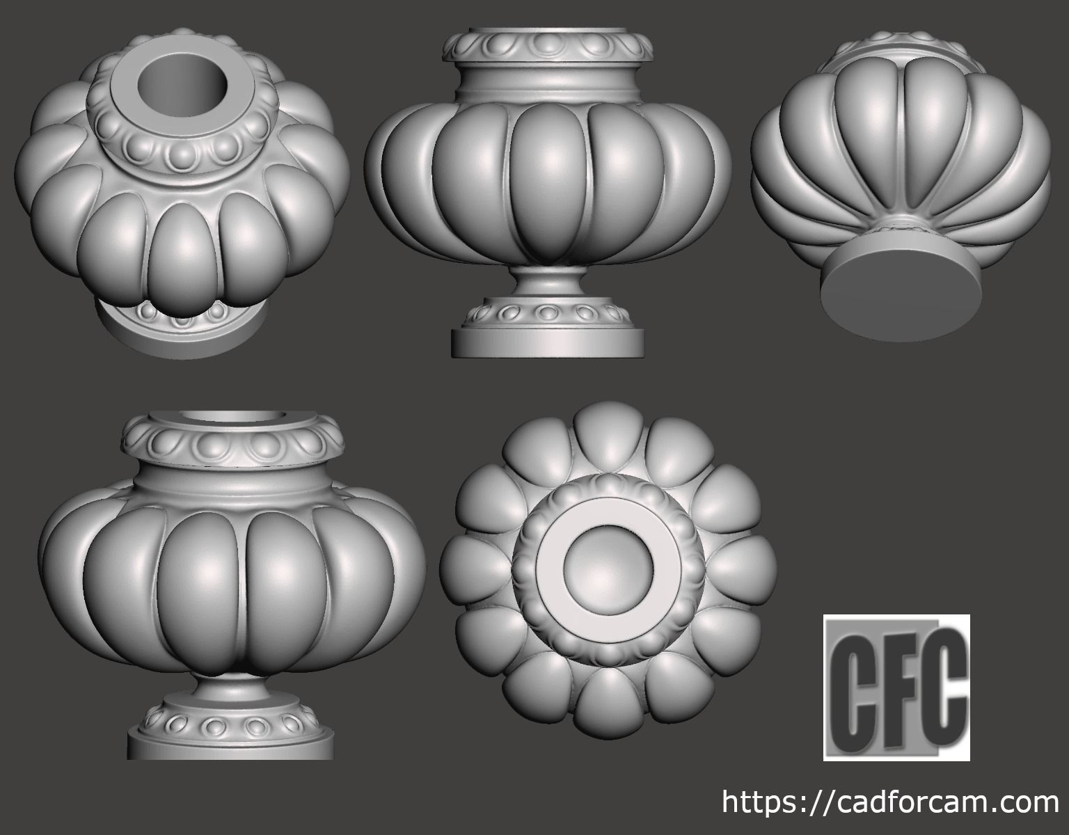 Decorative vase - 3d model for CNC - DecorativeVase005