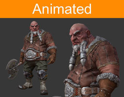 dwarf warrior 3d asset animated