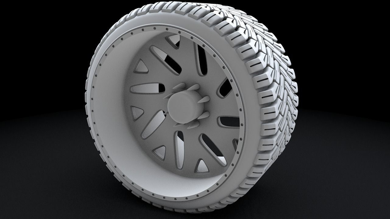 Truck Low Profile Tire and Wheel 3D Printable