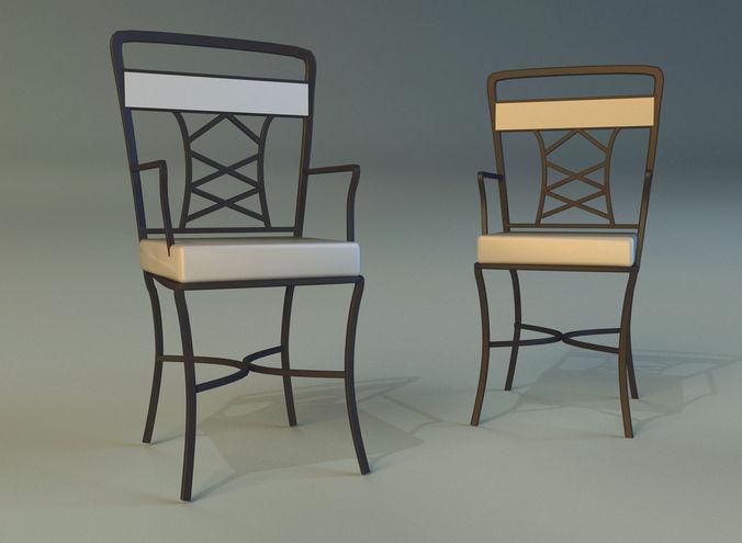 chair metal kitchen 3d model max obj 3ds fbx mtl