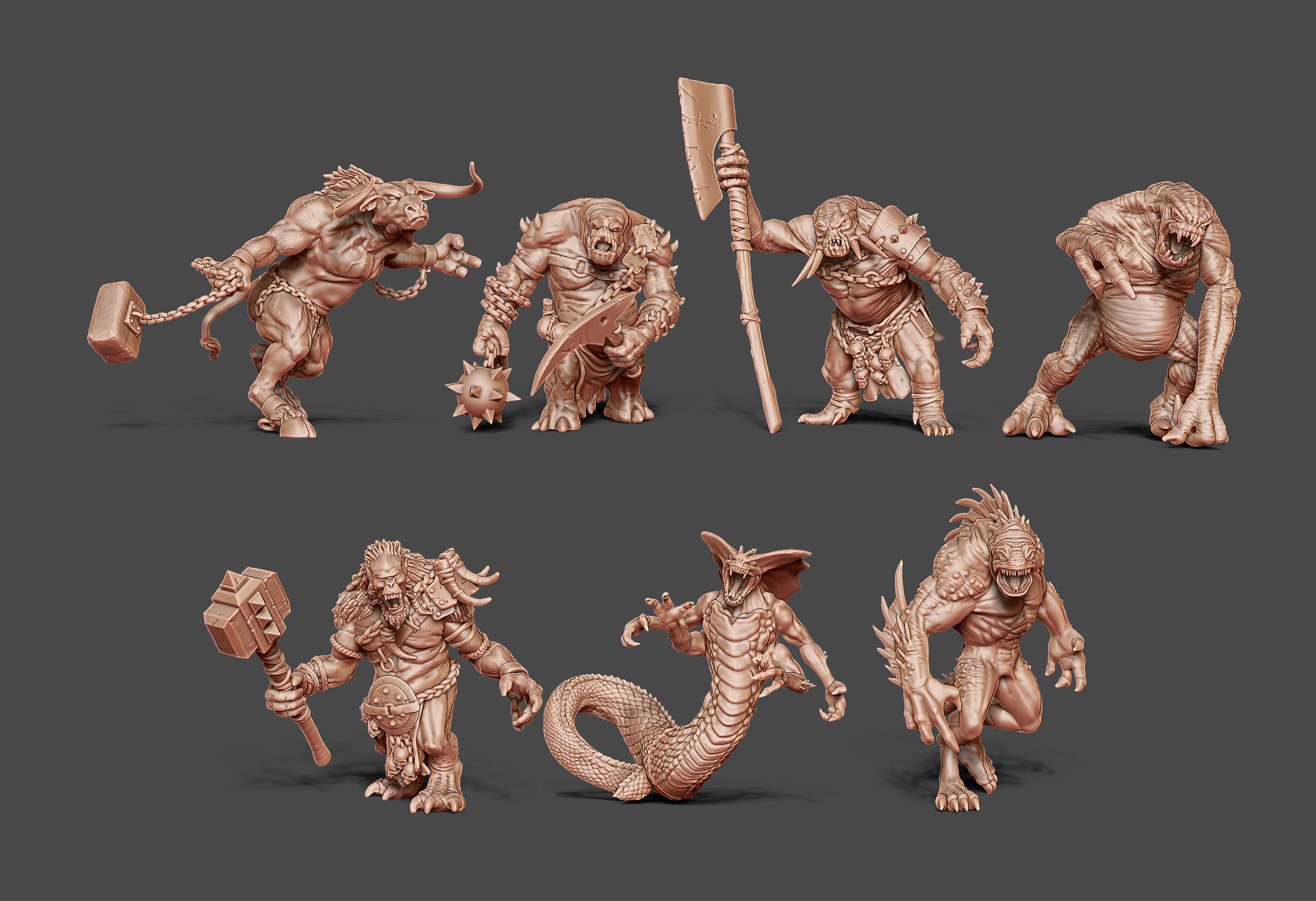 Monster bundle - 7 monsters - 52mm to 63mm scale