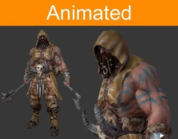 animated character barbarian 3d model game-ready