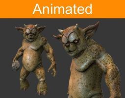 3d model characte beast low-poly animated