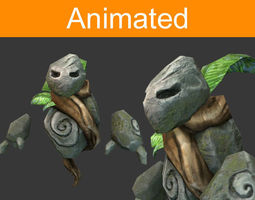 character flying golem 3d model low-poly animated 3ds fbx