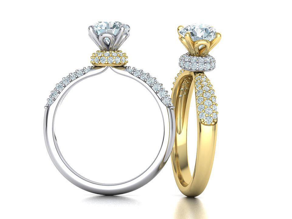 1ct Diamond Engagement ring Unique design 3dmodel