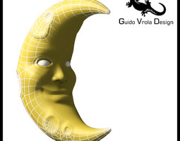 cartoon style moon 3d