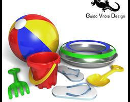 Beach toys set 3D