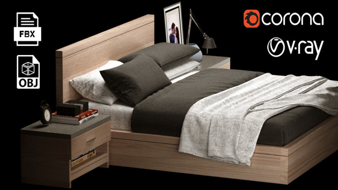 Double Bed Modern 01