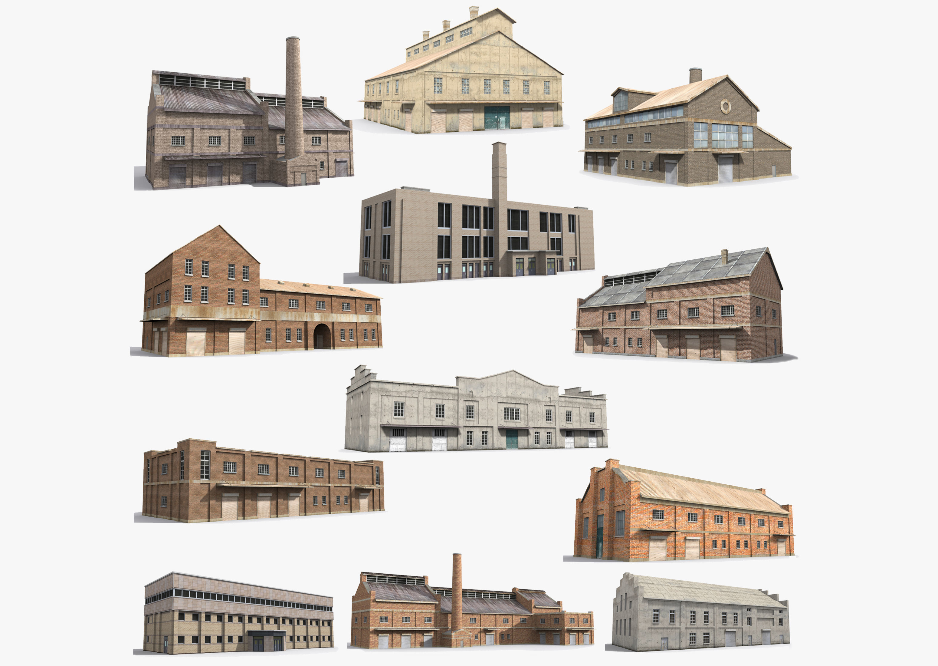 12  Factory Collection Low-poly 3D model
