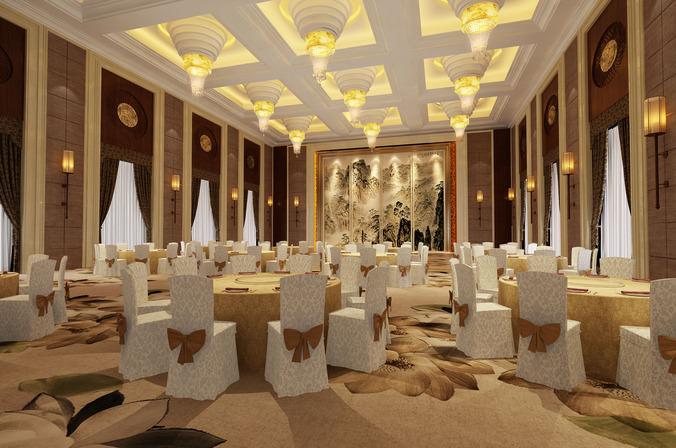 3d Banquet Hall Glassware Cgtrader