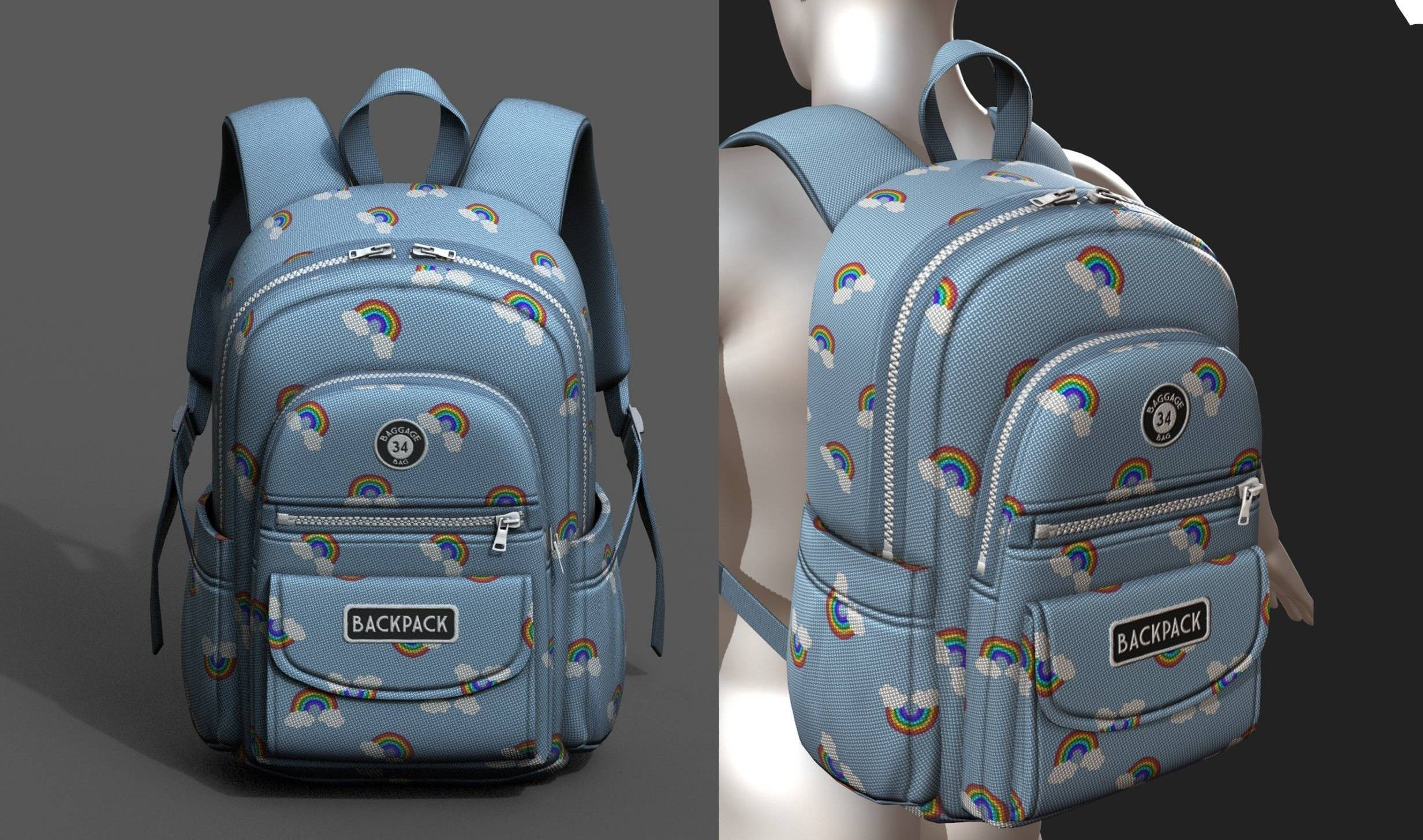 Backpack Camping Generic Color 3d model