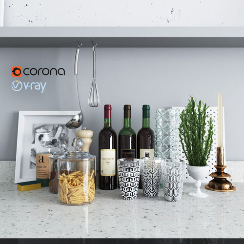 set decor for the kitchen 3d model low-poly max obj fbx mtl 1