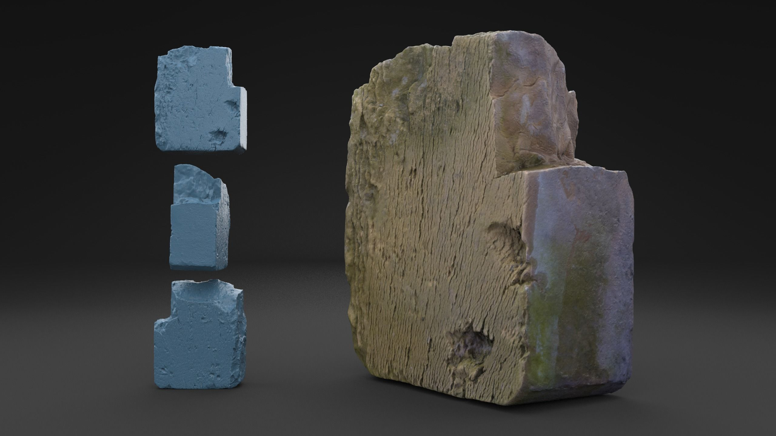 Scanned Old Red Brick HIGH POLY