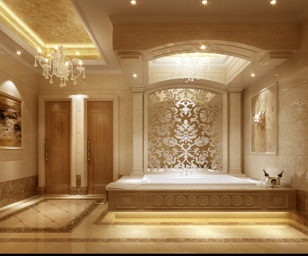Bathroom With Luxury Interior 3d Model