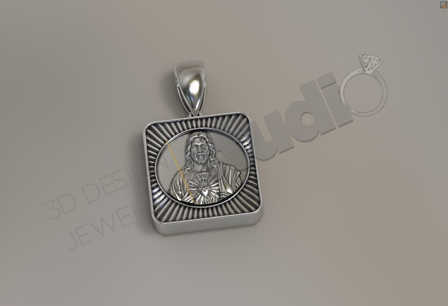 Urn pendant for human ash with Jesus Christ