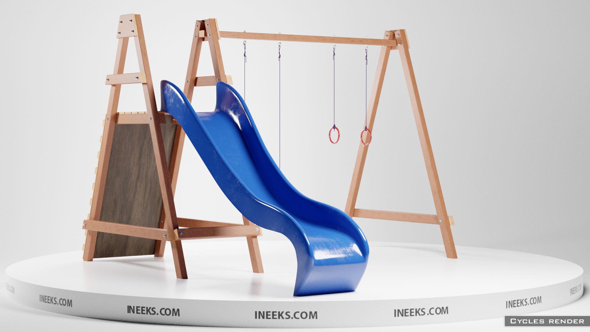 Wooden outdoor swing set with slide