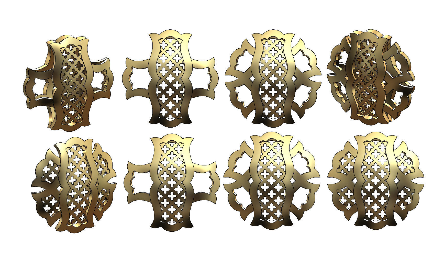 Double sided arabian pattern pendants with moucharabieh motifs