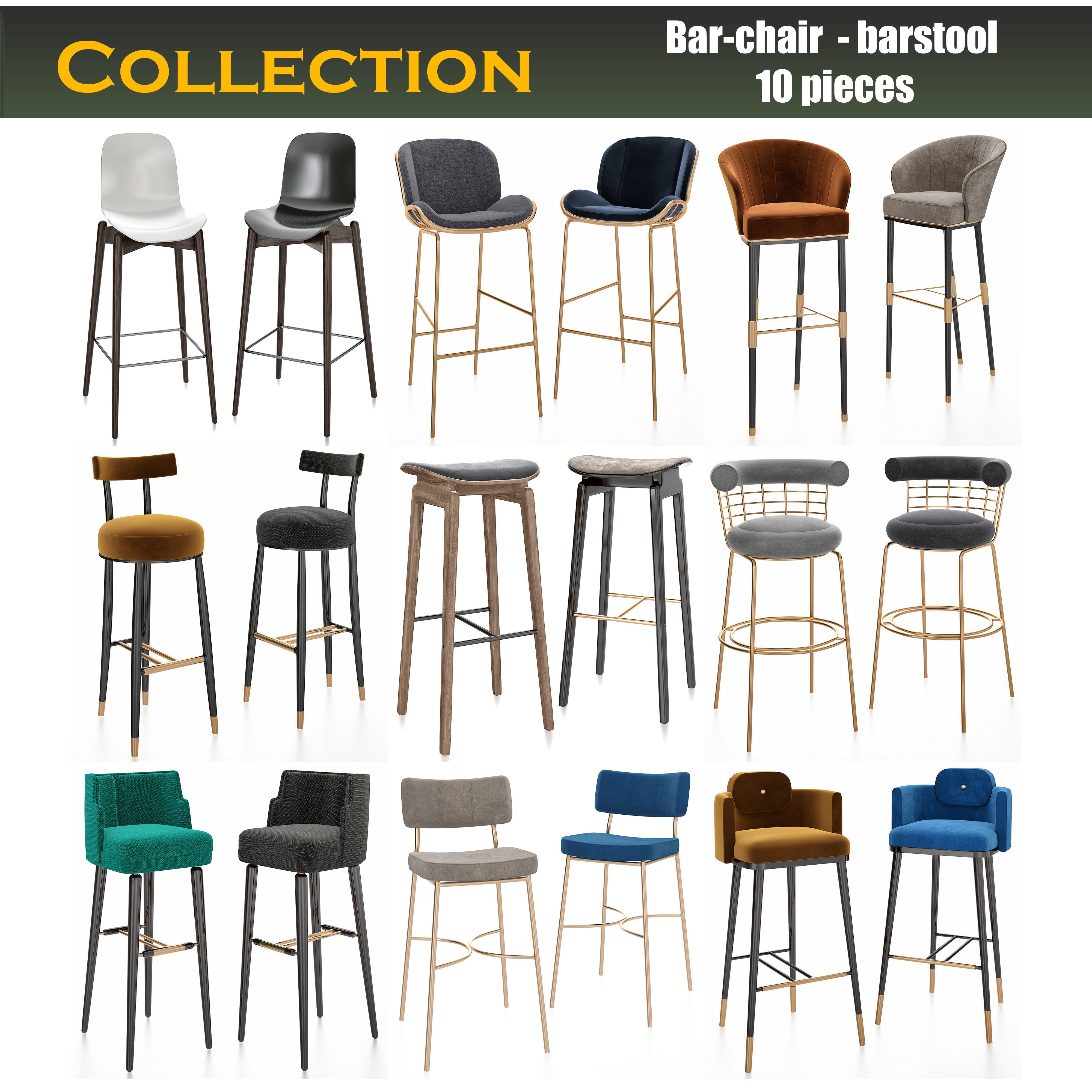 Bar chair 4d models collection 4 pieces