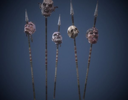 3d asset heads on spears