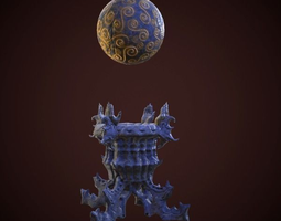 statue magic ball 3d model animated game-ready