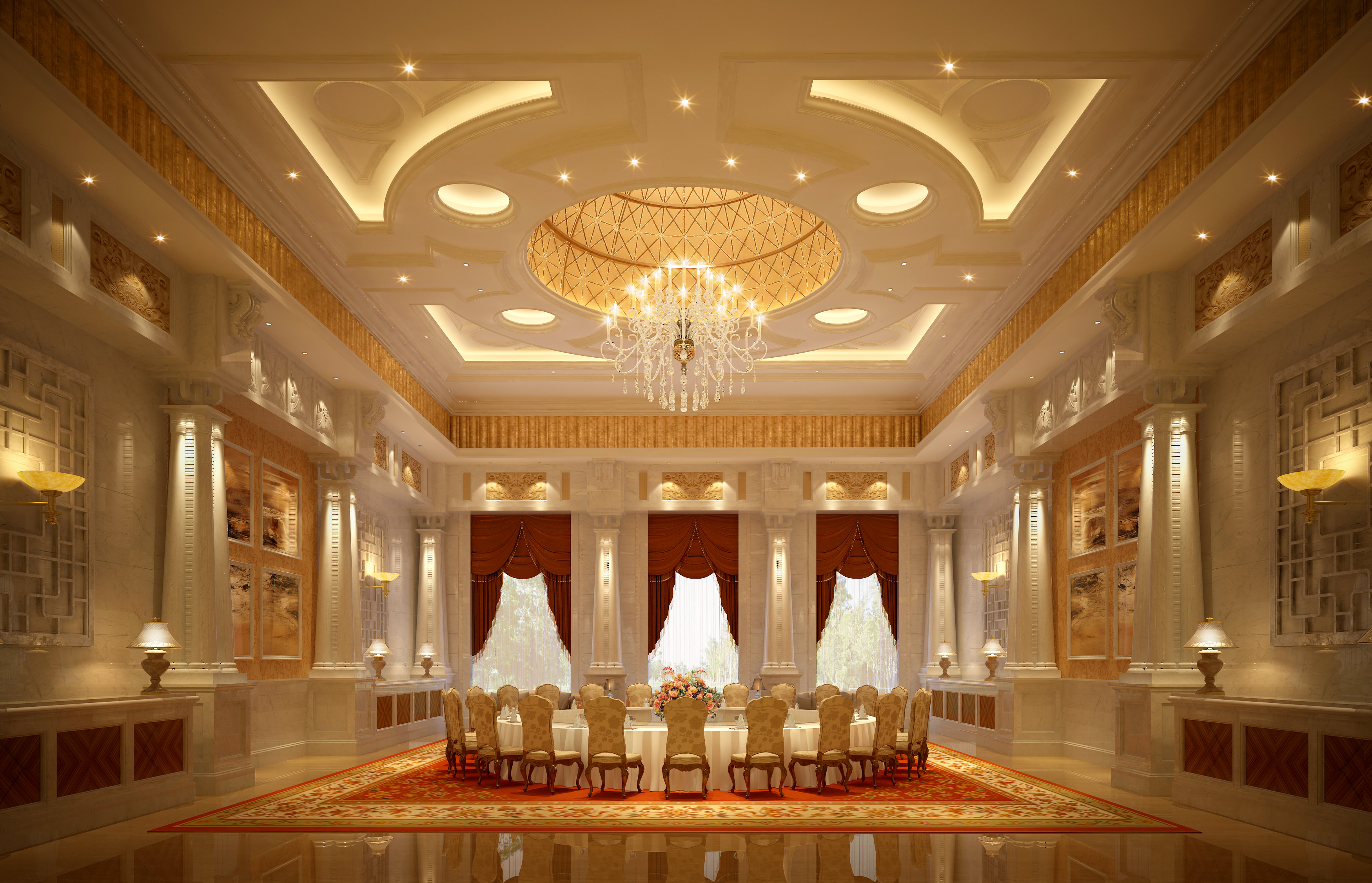 Banquet hall reception area download 3d house - Luxury Banquet Hall Interior 3d Model Max 1