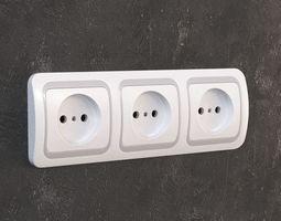 Triple electric socket CEE 7 3D Model