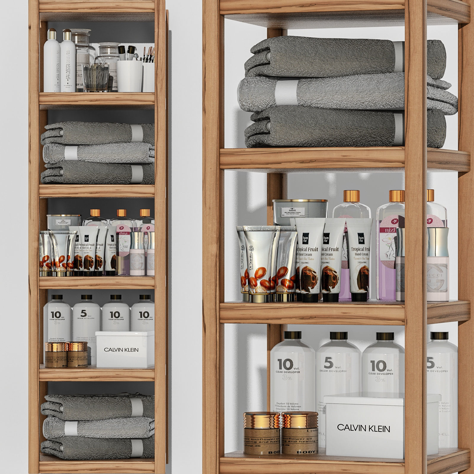 Shelving in a bathroom with cosmetics