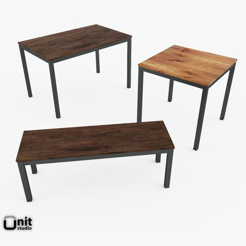 Box frame dining set by west elm 3d cgtrader for West elm table setting