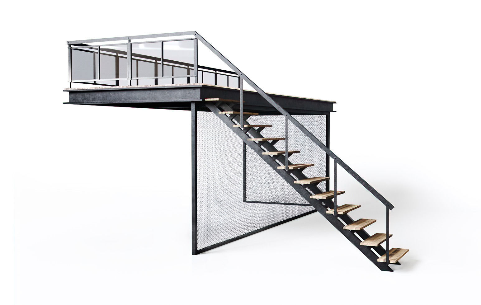 Metal stair with fencing