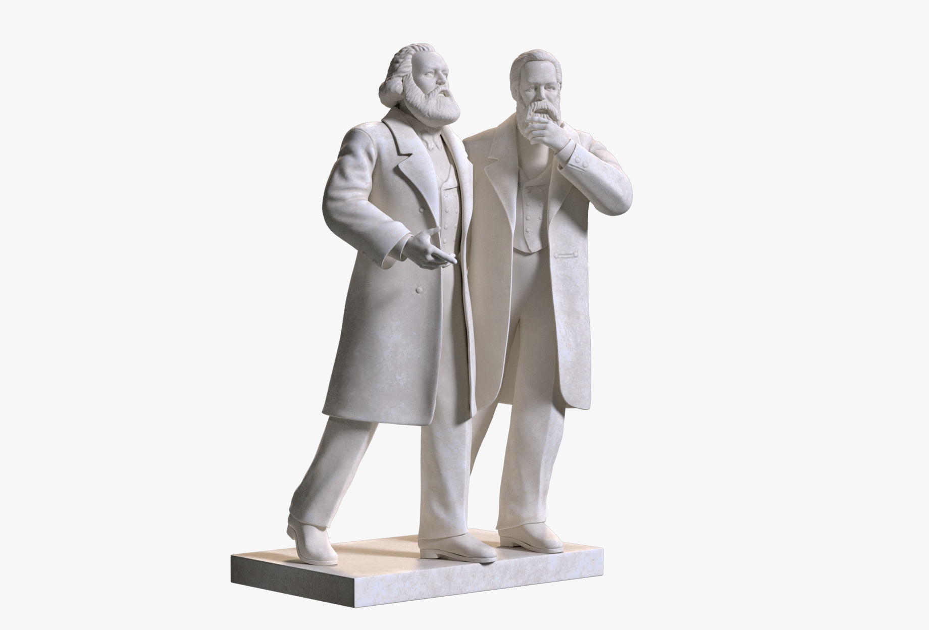 Marx and Engels Marble Sculpture