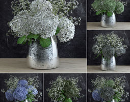 Bouquet of Gypsophila with Hyndrangeas 3D model