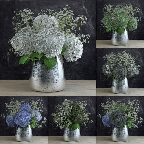 bouquet of gypsophila with hyndrangeas 3d model max obj mtl 1