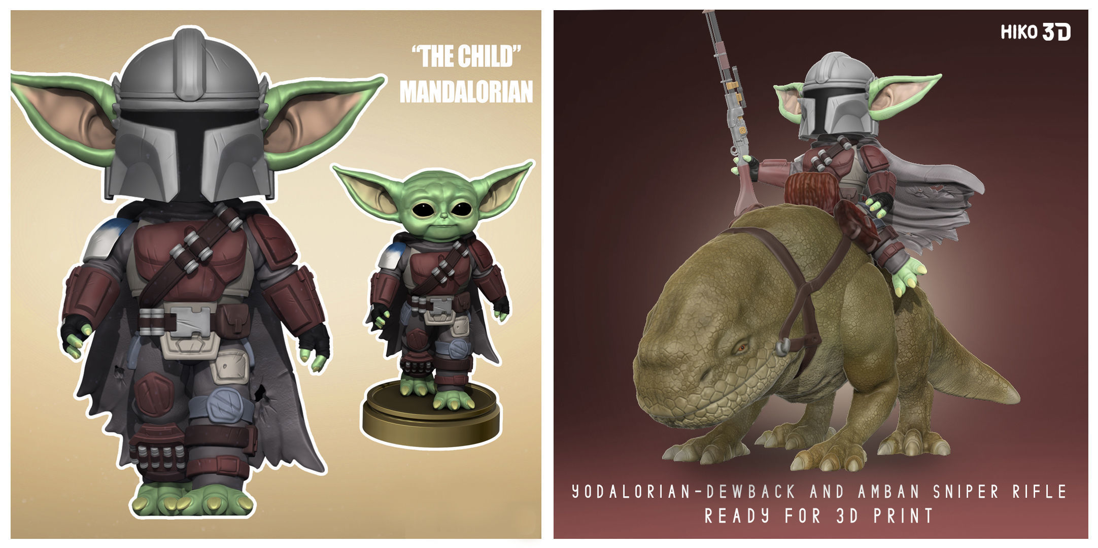 The Yodalorian Collection - Mandalorian - 3D Fan Art -