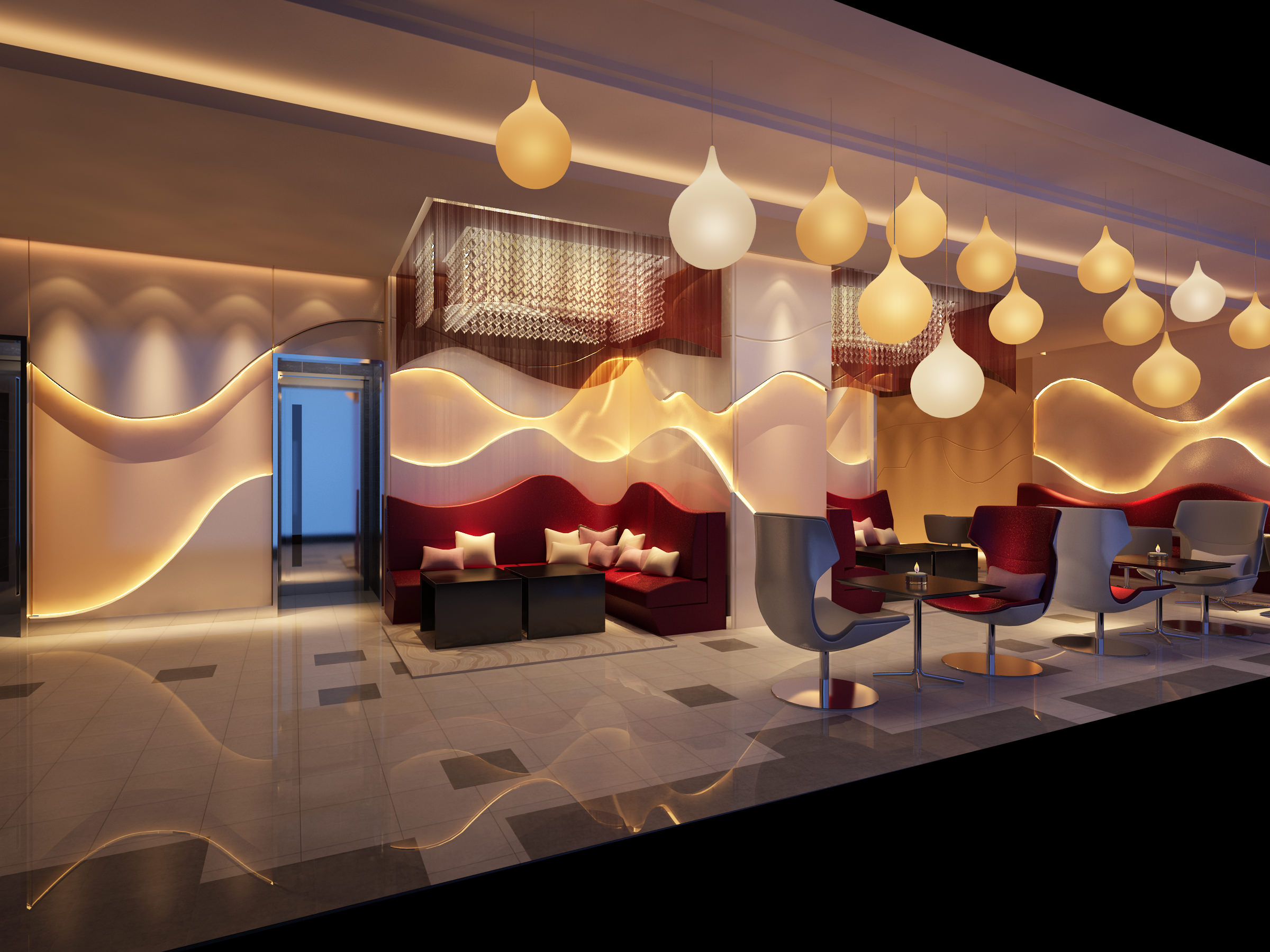 Ritzy Cafe Interior 3d Model Max 1