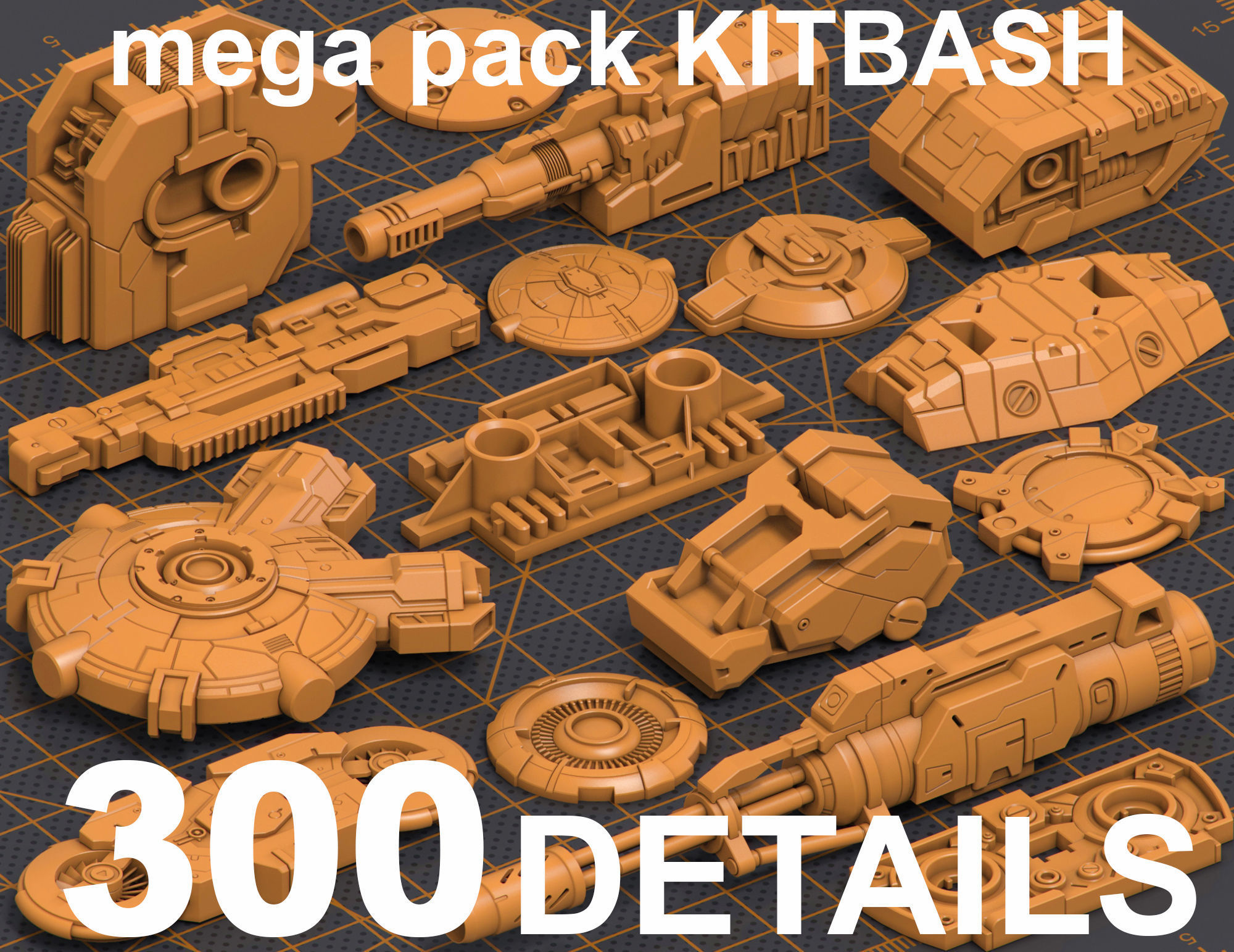 Mega Pack Hard Surface Kitbash 300 DETAILS