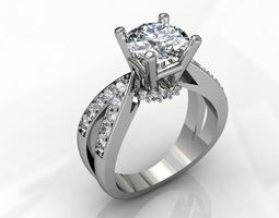 jewelry 3D print model engagement ring with diamond