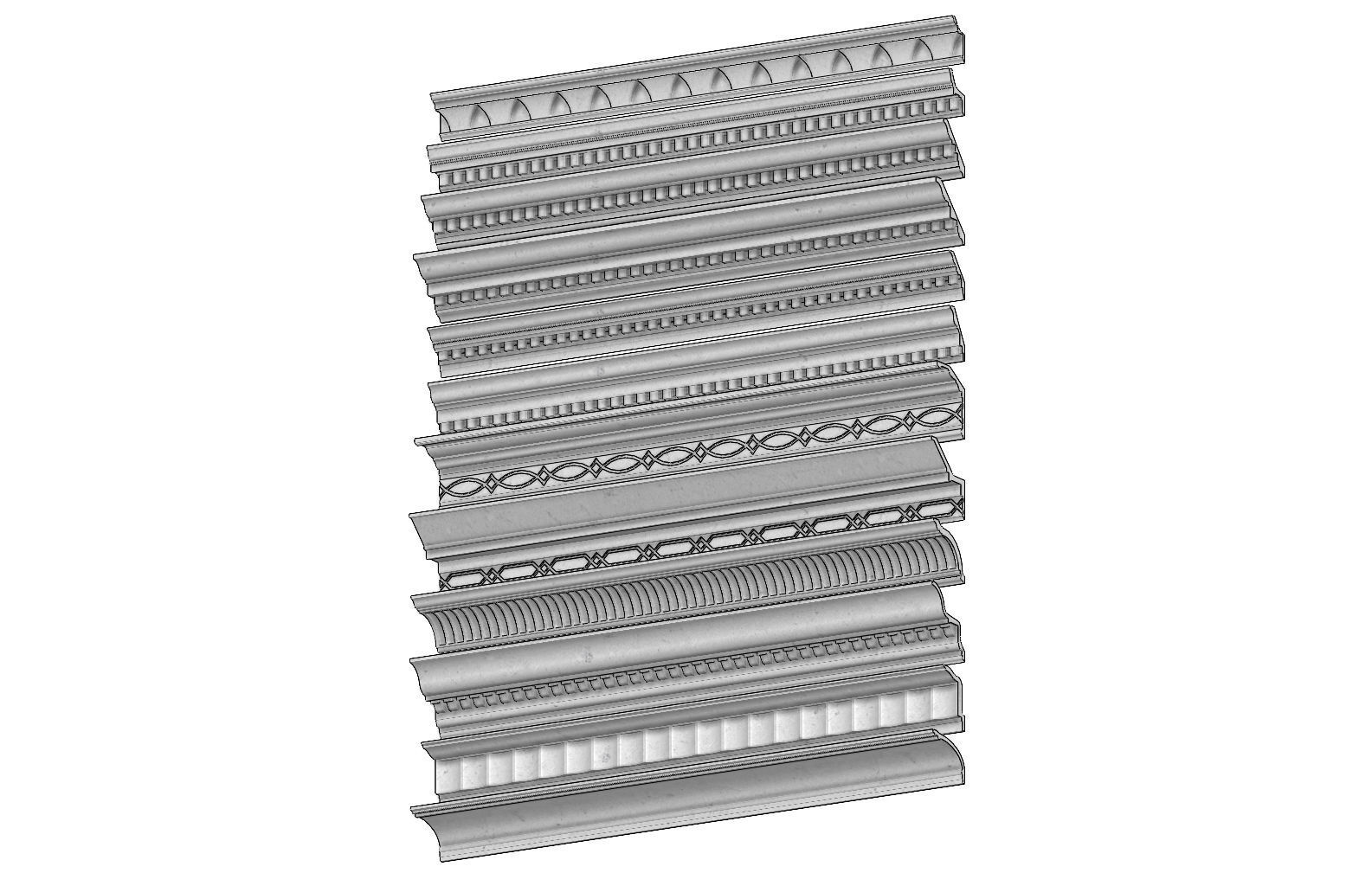 12 classical cornices and friezes  for plaster and wood workings