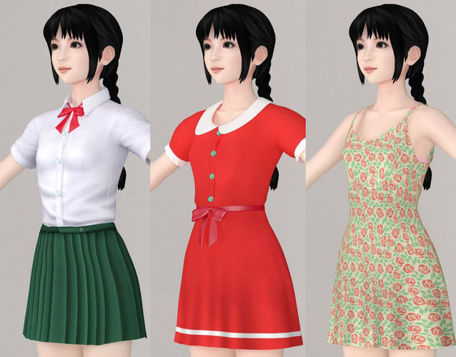 t pose nonrigged model of kumiko with various outfit  3d model max fbx 1