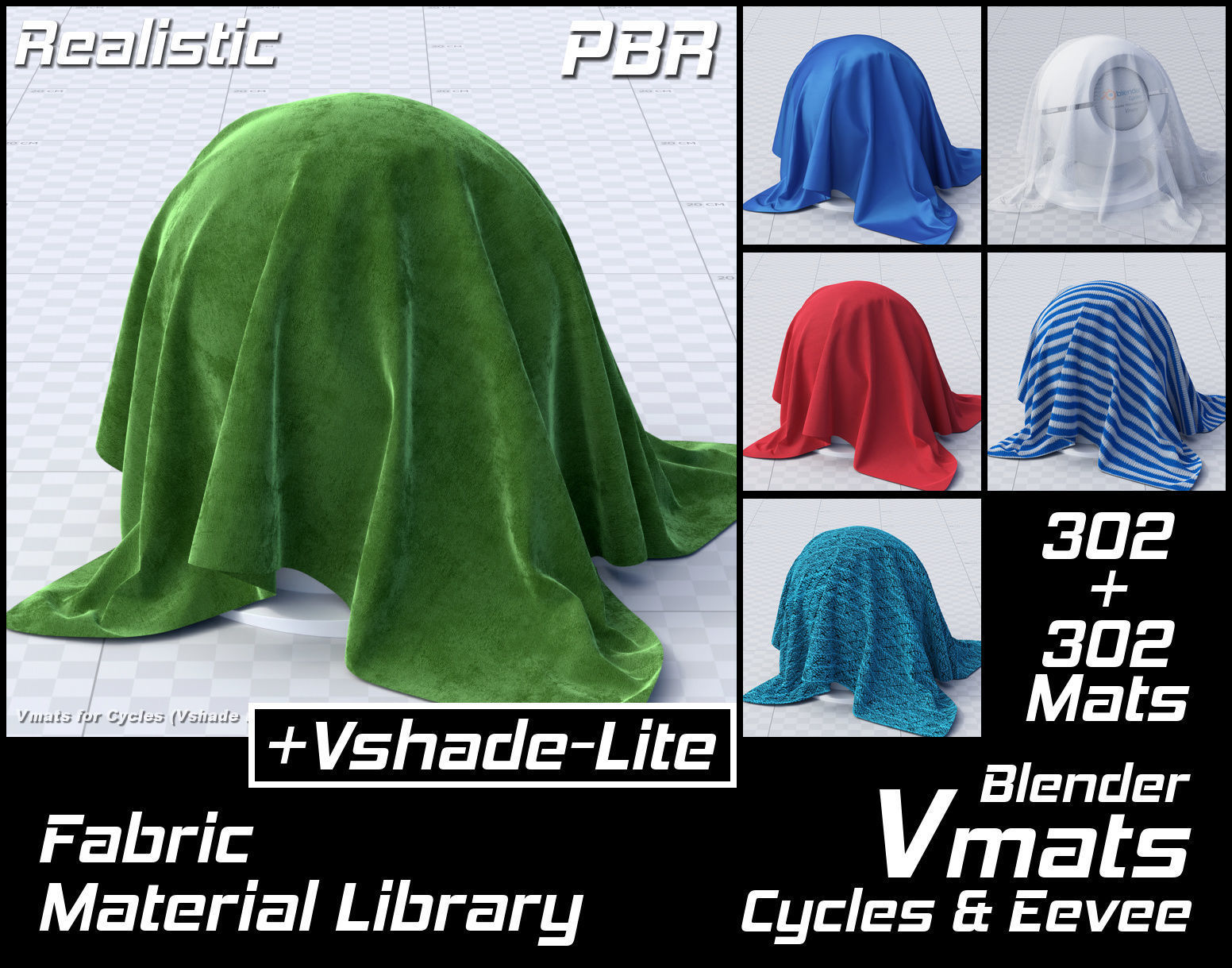 VMATS Fabric Material Library for Blender Cycles and Eevee