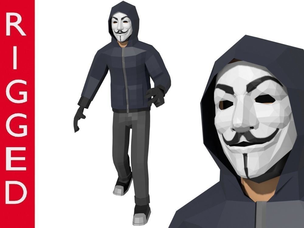 Low-Poly Hacker Anonymous Low Poly 3D rigged model Cartoon