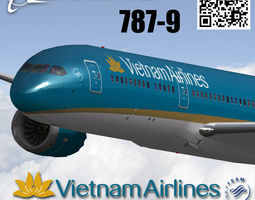 game-ready 3d model animated boeing 787-9 vietnam airlines livery