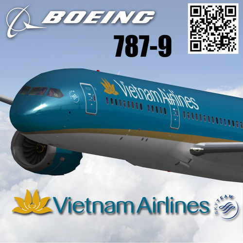 boeing 787-9 vietnam airlines livery 3d model low-poly rigged max 3ds fbx 1
