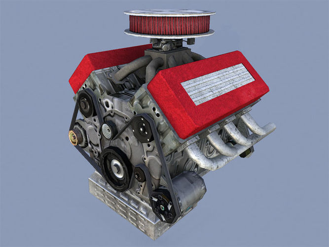 car engine 3d model low-poly obj fbx dae mtl tga 1