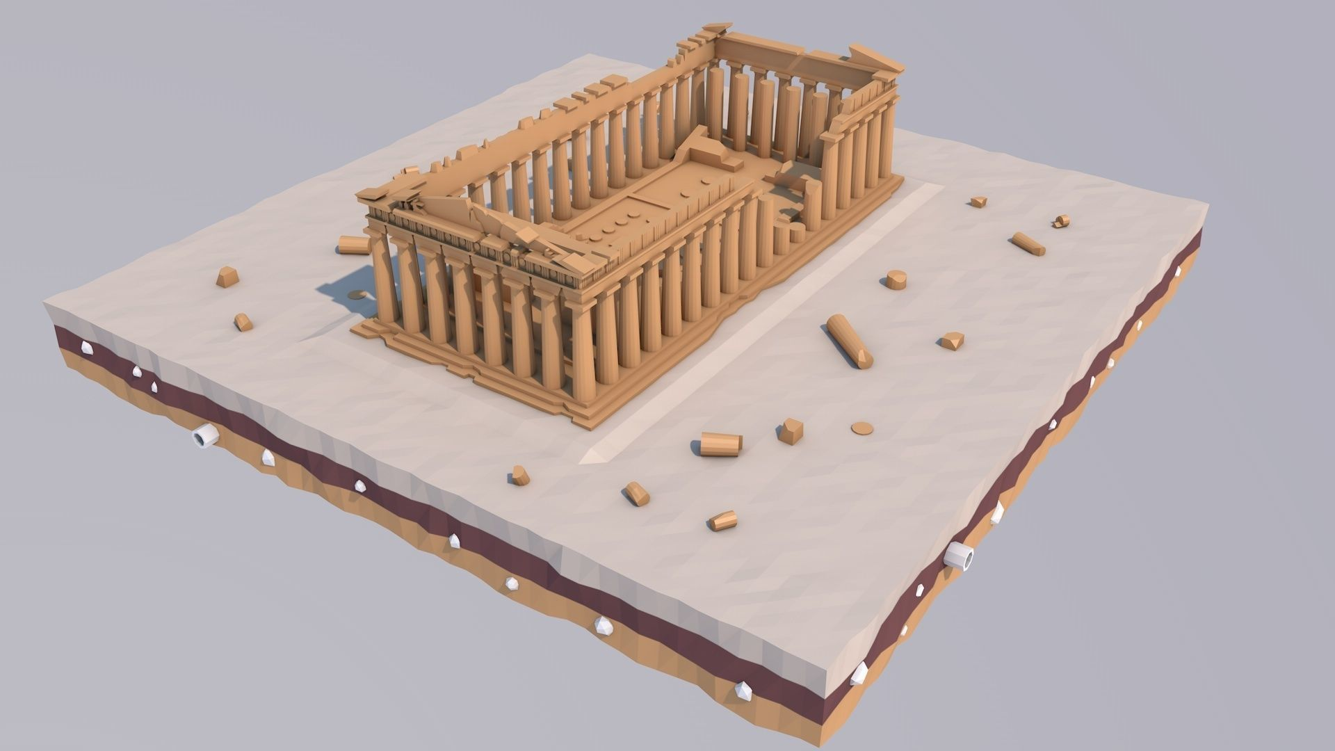 Low Poly Parthenon in Athens Greece Landmark
