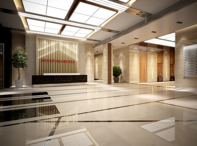 Hotel lobby hall lobby 3d cgtrader for 3d wallpaper for hall