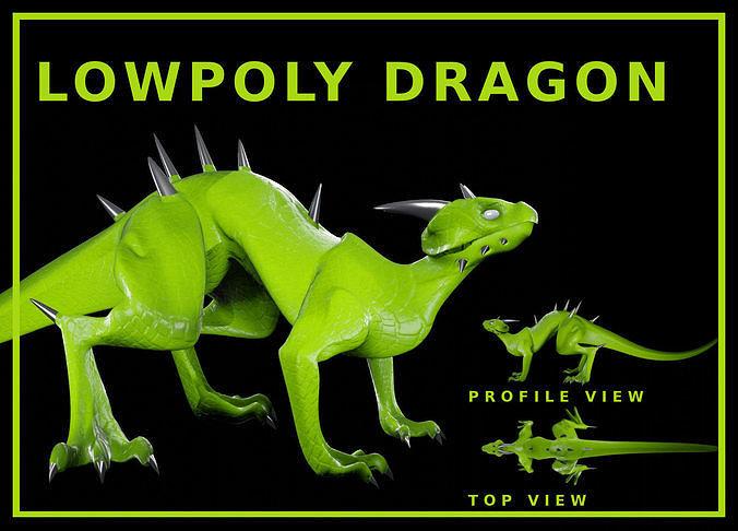 Lowpoly Rigged Lizard-Dragon