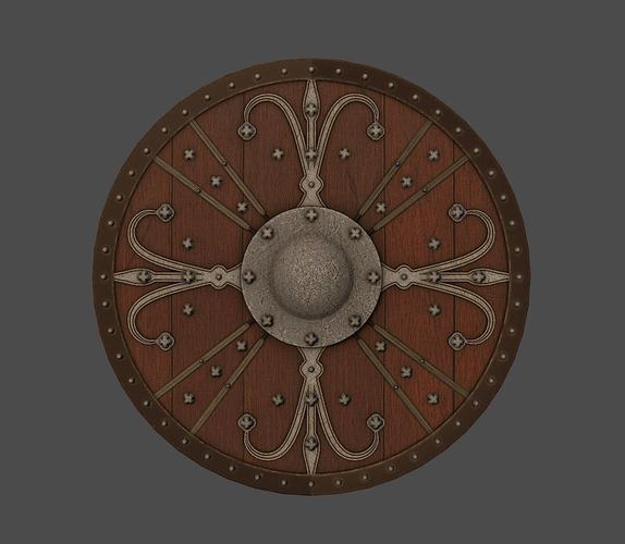 ornamented shield 3d model low-poly obj fbx mtl tga 1