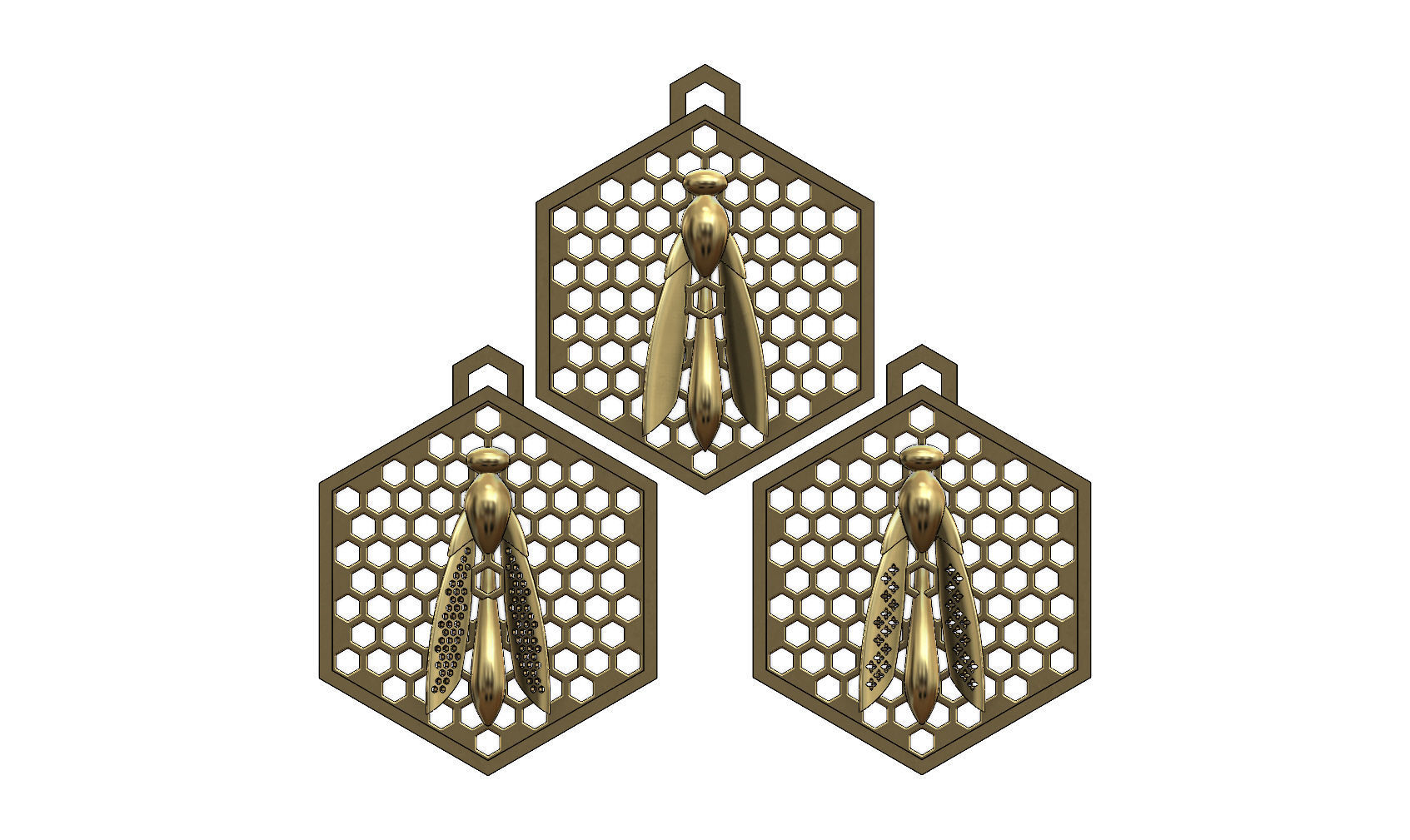 bee  pendants with a honeycomb mesh