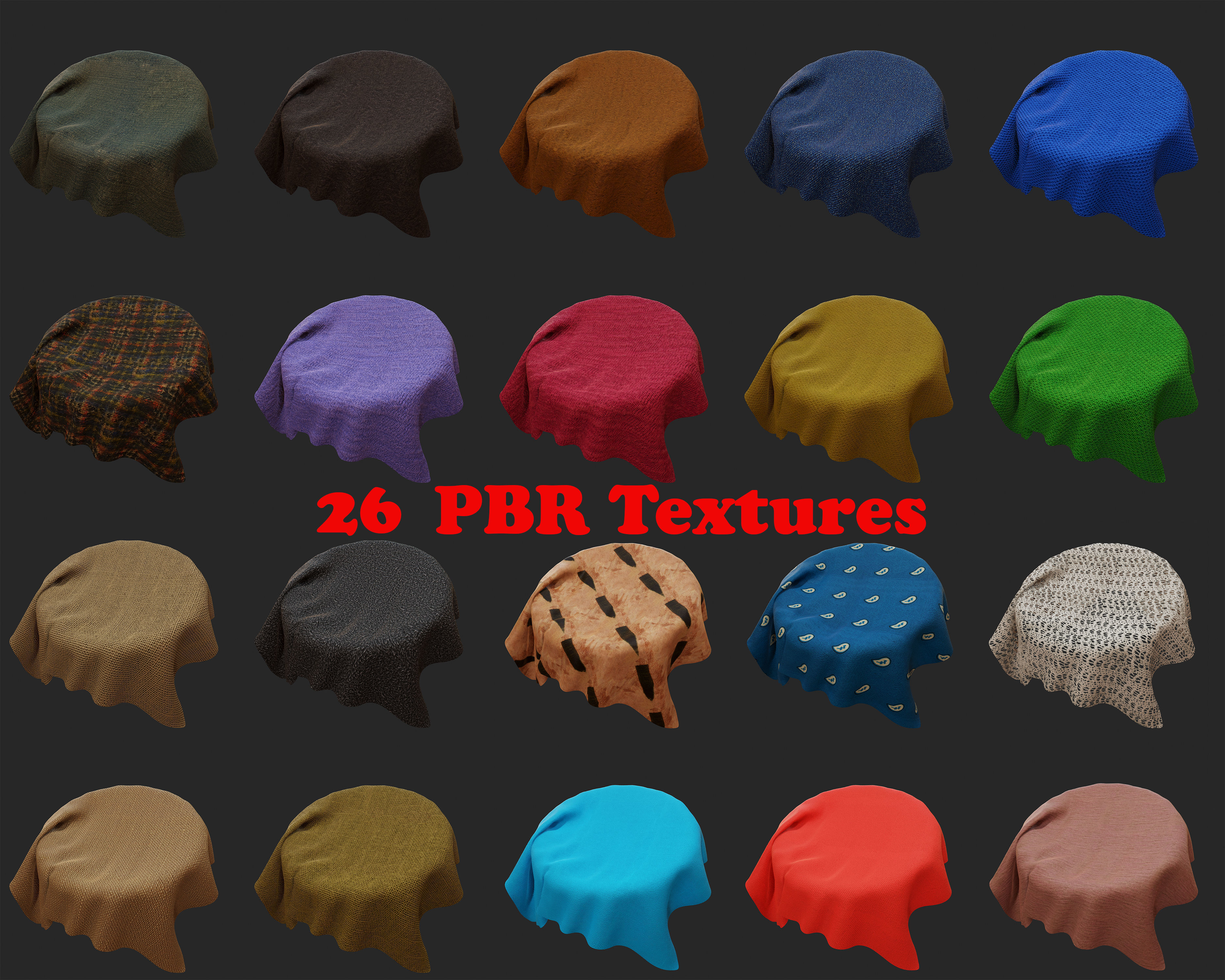 26 PBR Fabric textures