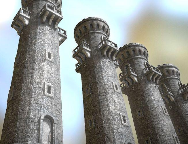 medieval guardtower 3d model low-poly obj mtl 3ds fbx dxf stl blend 1